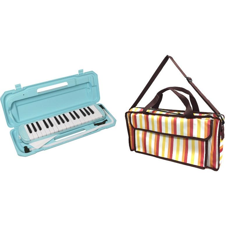 KC メロディピアノ P3001-32K/UBL(ライトブルー) + KHB-05 (Multi Stripe) 《鍵盤ハーモニカ+バッグセット》 【ドレミシール付】【ONLINE STORE】