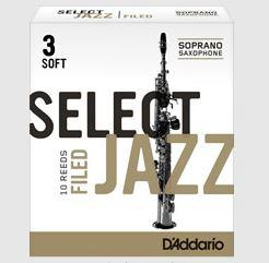 ジャズ定番リード RICO D'Addario WoodWinds ジャズセレクト STORE ソプラノサックスリード ファイルドカット 保証 10枚入り ONLINE 売買