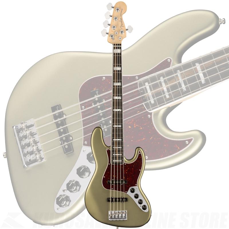 Fender American Elite Jazz Bass V, Ebony Fingerboard, Satin Jade Pearl Metallic【ONLINE STORE】