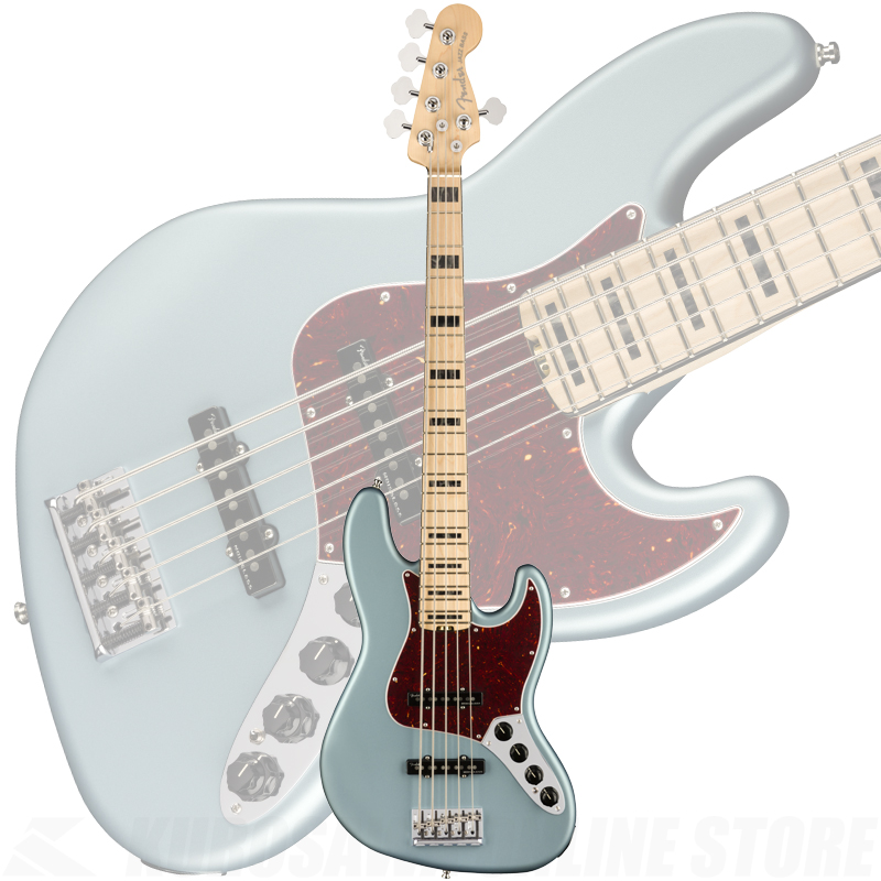 Fender American Elite Jazz Bass V, Maple Fingerboard, Satin Ice Blue Metallic【ONLINE STORE】
