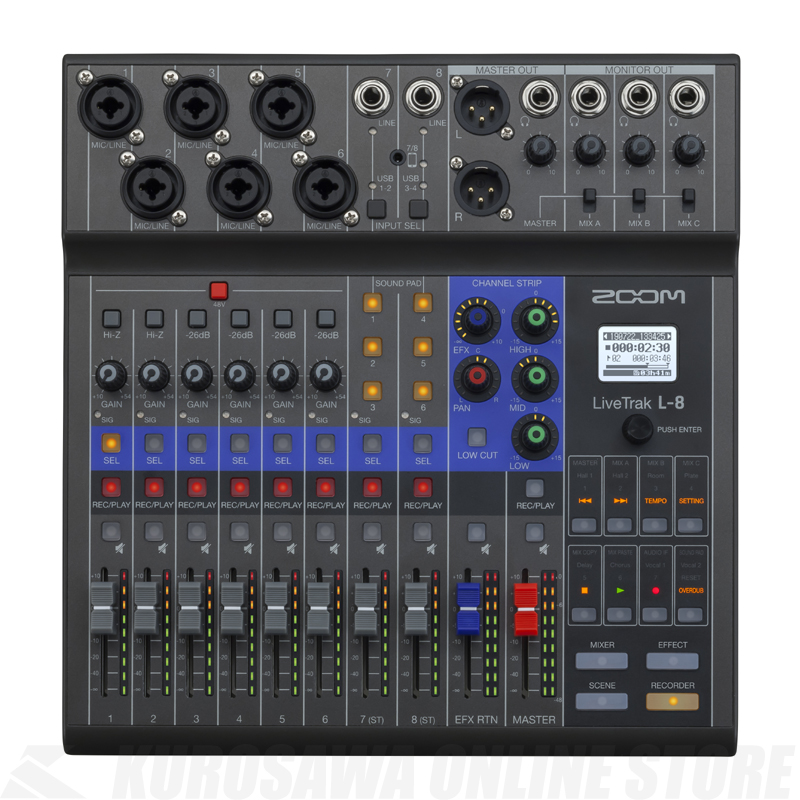 ZOOM LiveTrak L-8 [8-Track Live Mixer/Recorder]【送料無料】【ONLINE STORE】