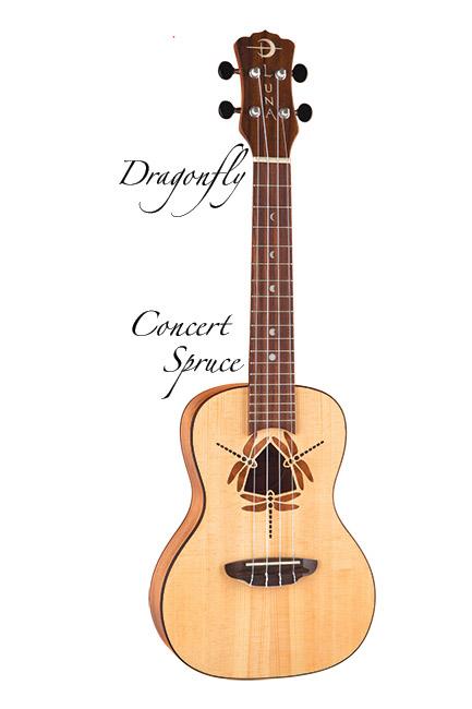 Luna Guitars Uke Dragonfly sld spruce top, mah 《コンサートウクレレ》【送料無料】【ONLINE STORE】