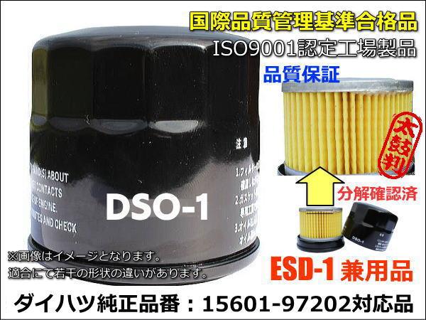 おまとめ50個で更にお安く、送料無料! オイルフィルター/エレメント DSO-1/ESD-1 (50個セット)/純正品番ダイハツ・トヨタ・スバル15601-B2010/スズキ16510-81420/日産AY100-KE002/マツダ1A02-14-300C/ミツビシMQ504532