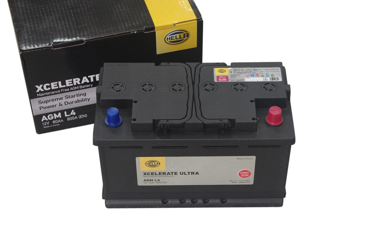 HELLA 高性能 AGM バッテリー 80Ah 12V AGML4 AGMLN4 8EB354810021 【24ヵ月または3万km保証】