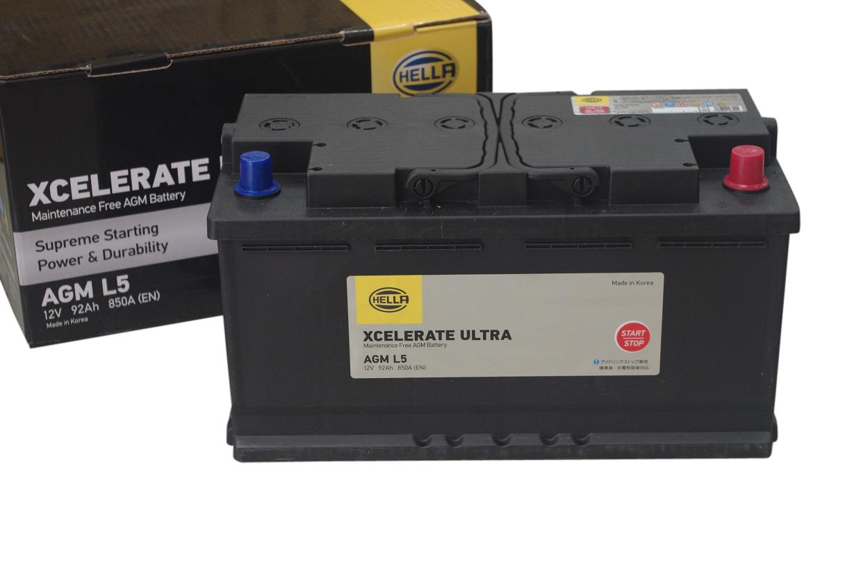 HELLA 高性能 AGM バッテリー 92Ah 12V AGML5 AGMLN5 8EB354810031 【24ヵ月または3万km保証】