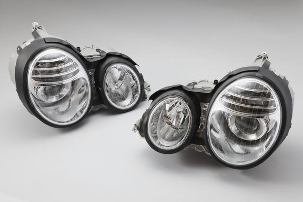 【送料無料/代引き発送可能】W210 Eクラス(前期/-99y) DEPO製 W211 後期ルック ハロゲンヘッドライト(左右)