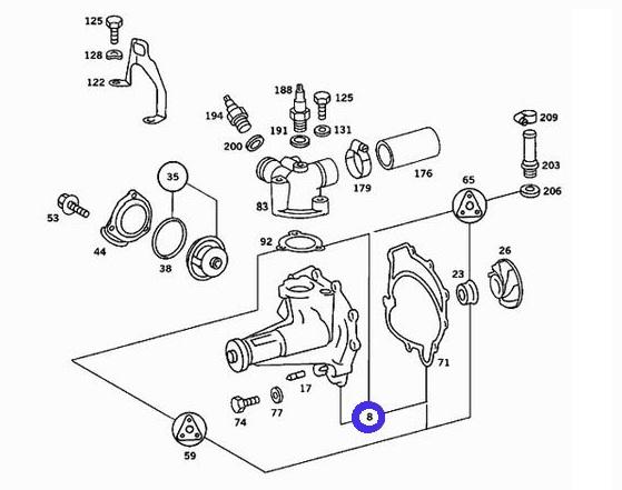 【送料サービス】ベンツ W126 R107 W463 (V8/M116) ウォーターポンプ(パッキン付)新品 116-200-1701