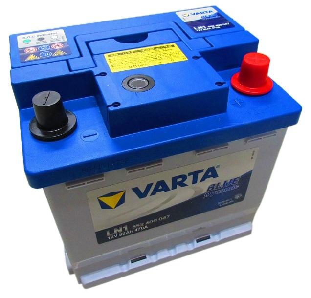欧州車用 VARTA製 BLUE DYNAMIC バッテリー 52Ah 12V 470A LN1 552400047 2年または30.000kmが保証対象