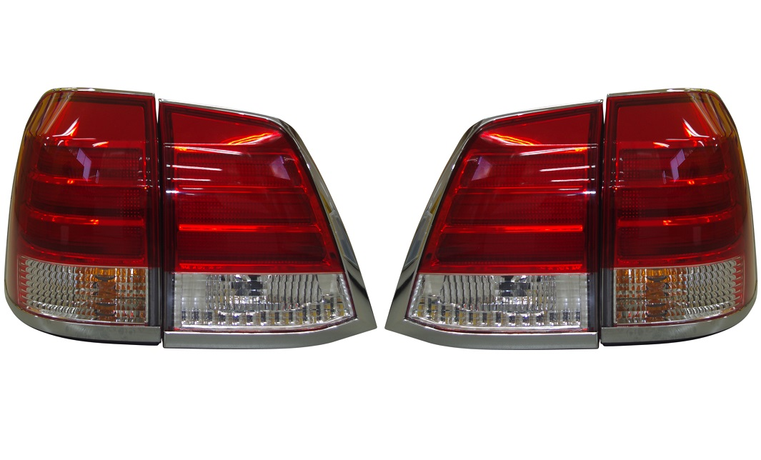 LEDテールライト レッド・クリア TY1025-B9RE4/トヨタ ランクル ランドクルーザー200系 2015/7以前 (パワーゲート無し車用)