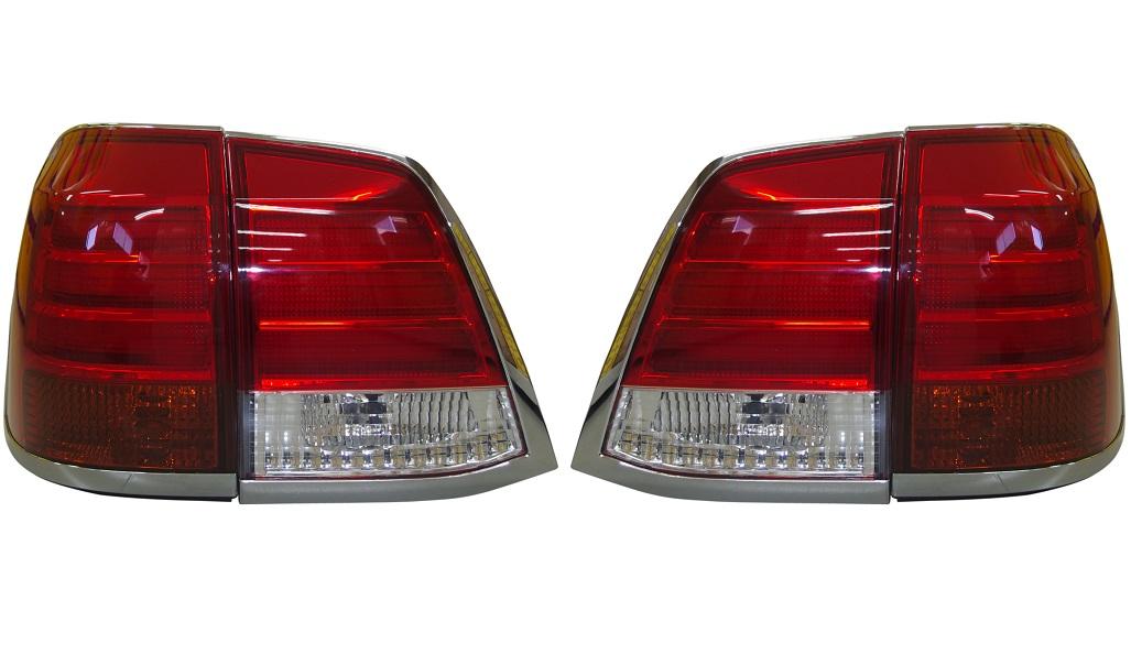 LEDテールライト ウィンカー部:オレンジ、バックランプ部:クリア TY1025-B9RA4/トヨタ ランクル ランドクルーザー200系 2015/7以前 (パワーゲート無し車用)