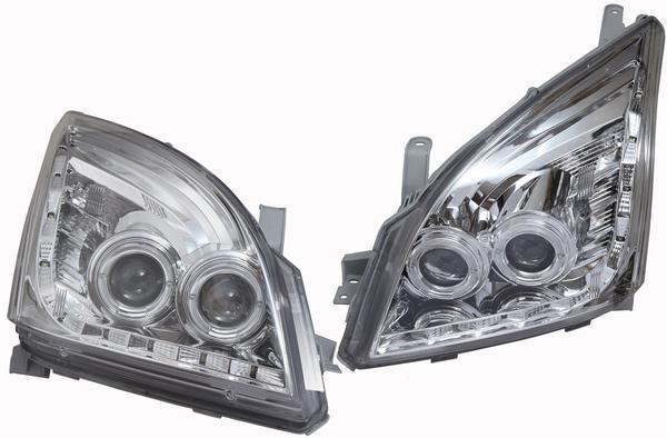 【送料サービス】トヨタ ランクル ランドクルーザー 120系 プラド/イカリングヘッドランプ左右セット(メッキ)Ver.2新品