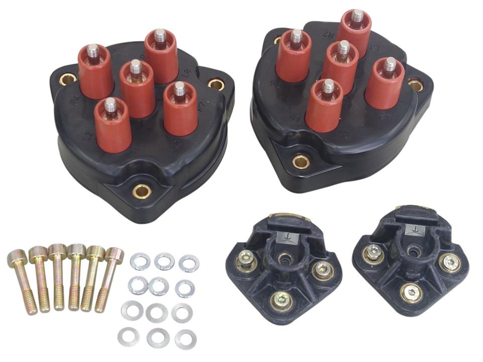 ディストリビューターローター(ディスビローター)+ディストリビューターキャップ(ディスビキャップ)(1台分)ベンツ M119(V8)Eクラス W124 SLクラス R129 Sクラス W140 1191580231(x2個)+1191580102(x2個)