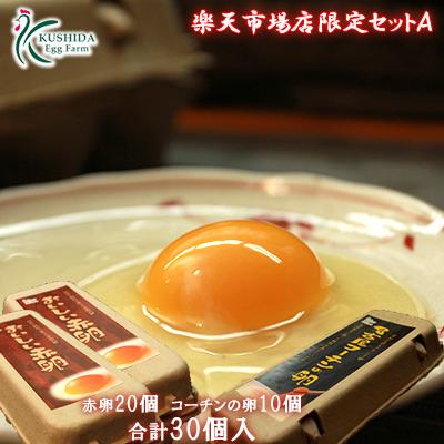 市場店限定セットA 新鮮なこだわり卵を養鶏場から直送でお届け致します 新鮮 おいしい 安全 櫛田養鶏場の卵 名古屋コーチンの卵を1パックからお試し☆ 高級名古屋コーチンの卵 10個入り おいしい赤卵 お試し 合計30個入り 卵 メーカー直売 鶏卵 30個 送料無料 食品 お得 送料無料でお届けします 内3個割れ保障含む 20個入り