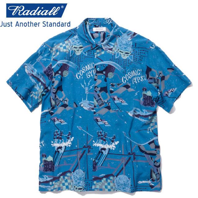 定価21780円 40%OFF!! / RADIALL ラディアル COSMIC GYPSY - OPEN COLLARED SHIRT S/S 半袖シャツ BLUE