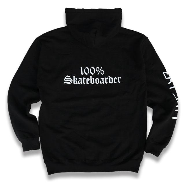 100% SKATEBOARDER ZIP HOODIE ジップパーカー BLACK