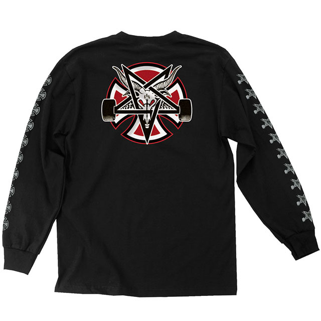 INDEPENDENT インディペンデント x THRASHER スラッシャー PENTAGRAM CROSS L/S REGULAR Tシャツ BLACK