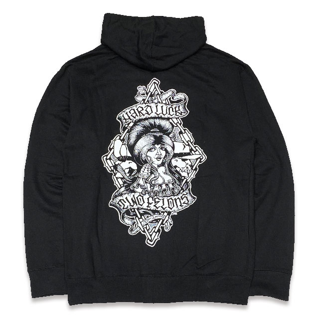 TWO FELONS SKATE SHOP x HARD LUCK COLLABORATION ZIP UP HOODIE BLACK