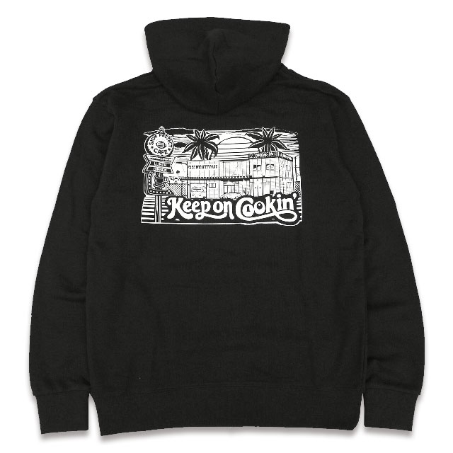 SIDE PROJECT CAFE PULLOVER HOODIE カブリパーカー BLACK ART WORK by LAFAMILIA