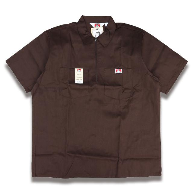 2020モデル USA直輸入 BEN DAVIS HALF ZIP BROWN ハーフジップ #127 半袖ワークシャツ 新作アイテム毎日更新