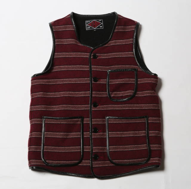 定価\29700 SALE 50%OFF!! / CUT RATE(カットレイト) CR-14AW023BG BOA STRIPE VEST BURGUNDY