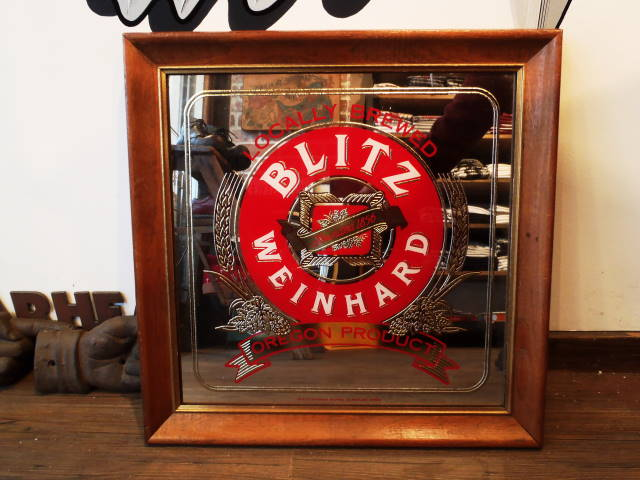 *YA* AN134 USED(中古) VINTAGE ANTIQUE BLITZ BEER BAR MIRROR