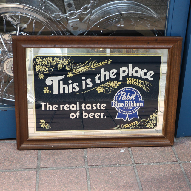 AN232 USED(中古) VINTAGE ANTIQUE PABST BEER BAR MIRROR 鏡 53x37CM