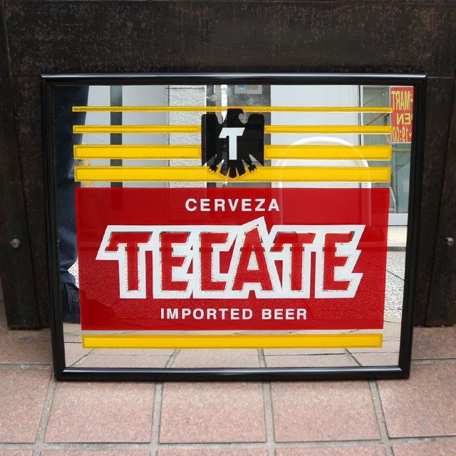 AN236 USED(中古) VINTAGE ANTIQUE TECATE BEER BAR MIRROR 鏡 51x43(CM)