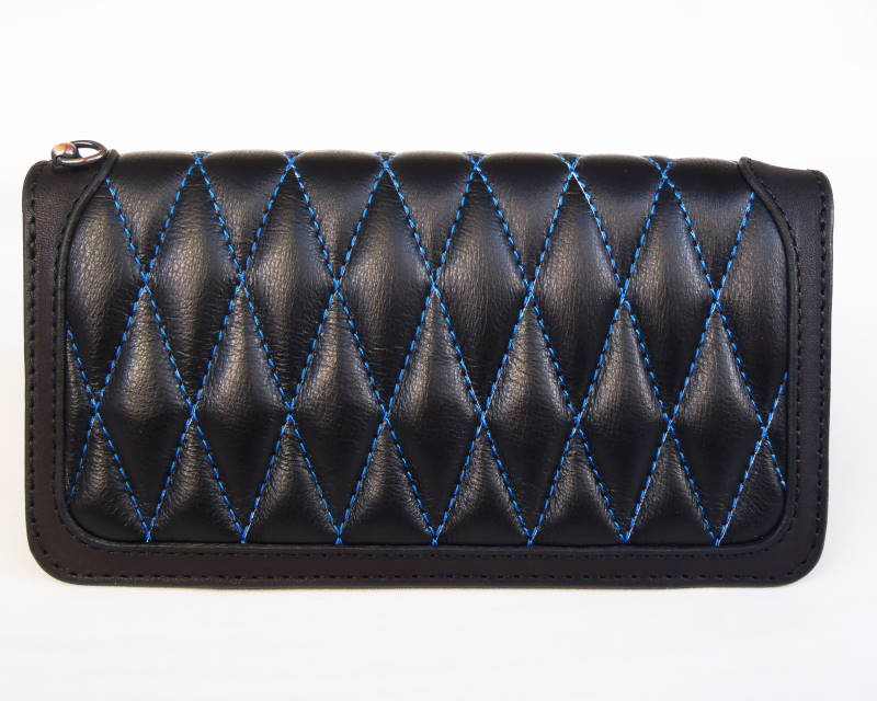 KUSTOMSTYLE DIAMOND WALLET BLACK/BLACK BLUE STITCH ボタンなし