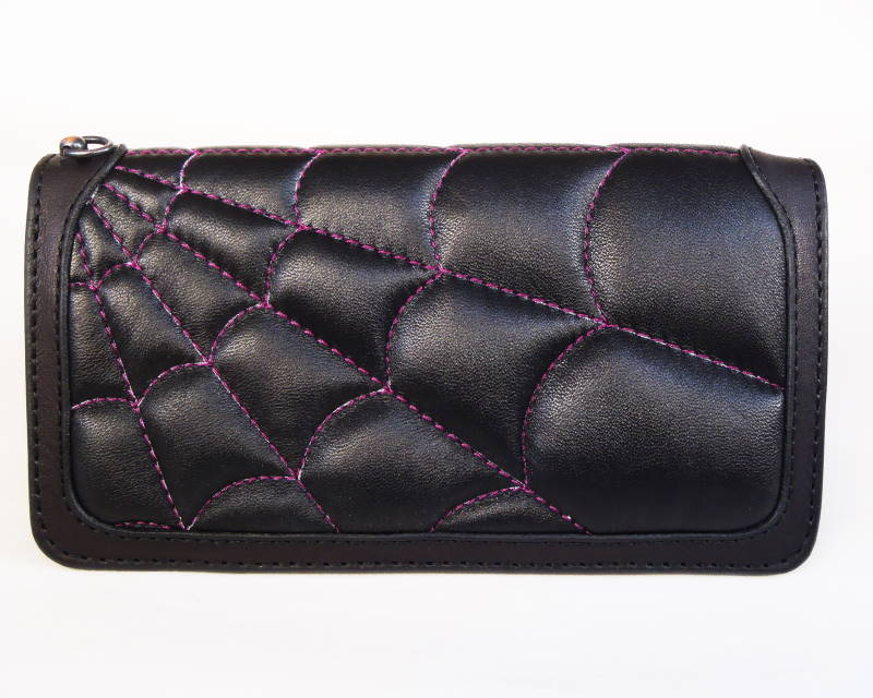 KUSTOMSTYLE SPIDER WALLET BLACK/BLACK PURPLE STITCH ボタンなし