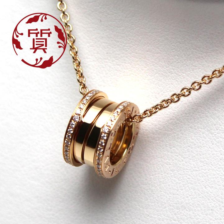 【楠本質店/元住吉】ブルガリ K18PG B-Zero1ダイヤネックレス Ref.350052【中古】