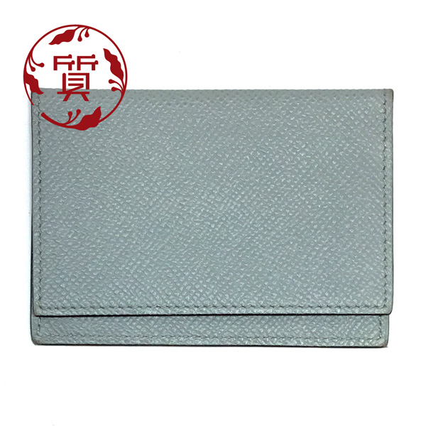 【楠本質店/元住吉】エルメス カードケース グレー系 X刻印(1968年製)【中古】