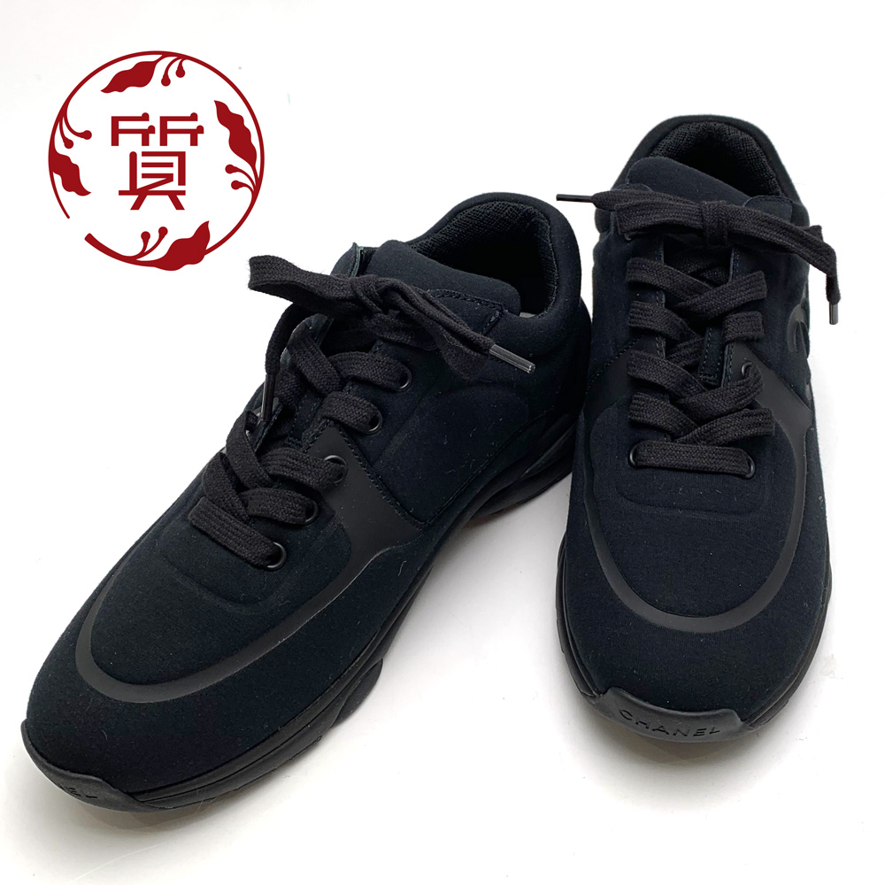 【楠本質店/元住吉】未使用品 シャネル スニーカー ブラック 38サイズ(約25cm) レディース G35346【中古】