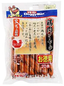 毎週更新 ドギーマン 鶏肉ソーセージ 日本メーカー新品 20本 ドッグフード 犬用おやつ