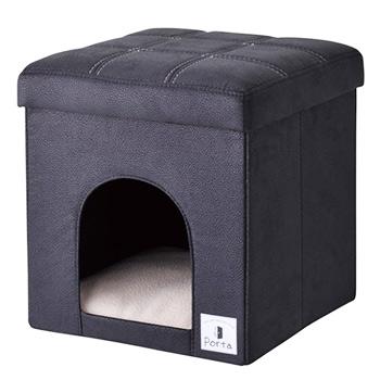 ペティオ ポルタ ドッグハウス&スツール ブラック レギュラー (1個) クッション付 Porta