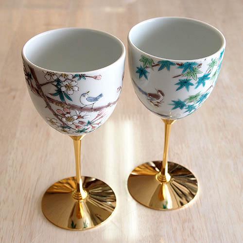 在庫一掃売り切りセール 正規逆輸入品 九谷焼 直径7.2cm 高さ15cm 花鳥絵変わり 九谷焼ペアワインカップ