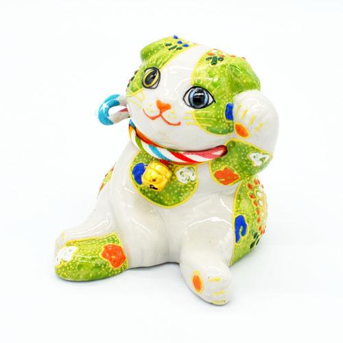 店内全品対象 完売 九谷焼招き猫 スコティッシュフォールド 緑盛