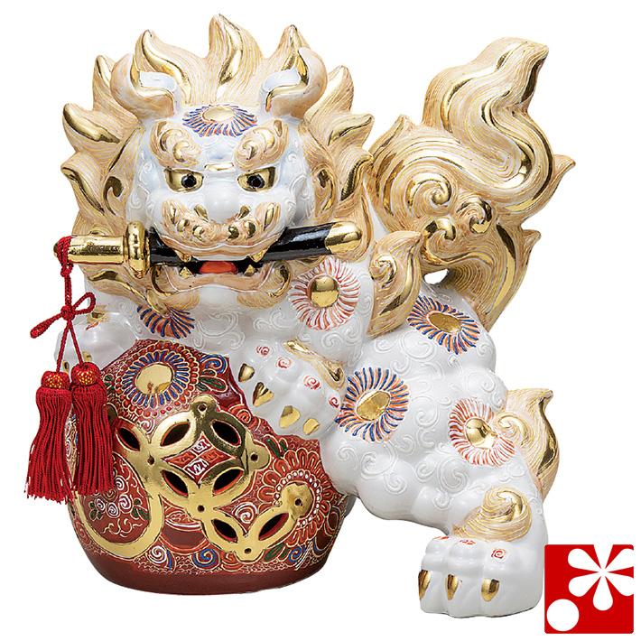 九谷焼 剣獅子 白盛(高さ31cm)