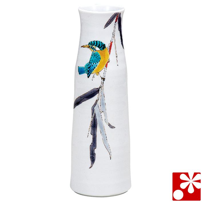 九谷焼 花瓶 竹に翡翠 山田龍山(高25cm)