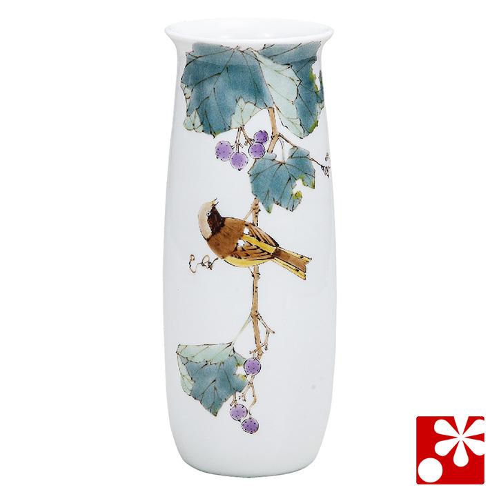 九谷焼 花瓶 野ブドウに尉鶲 山田龍山(高25.5cm)