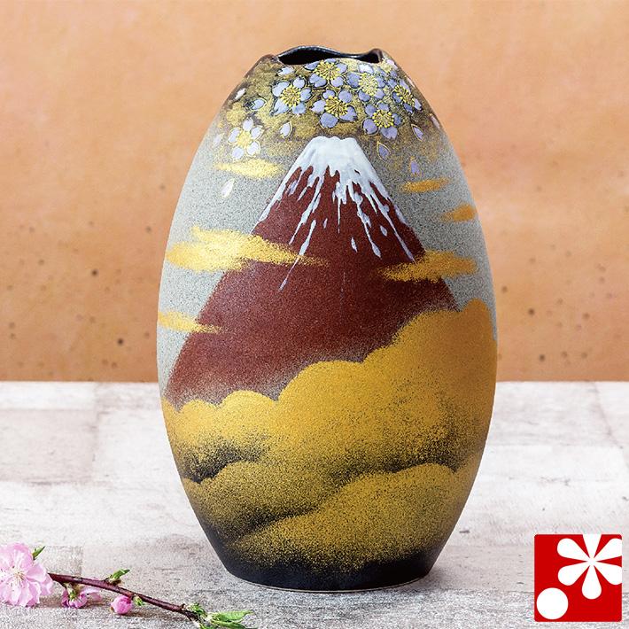 九谷焼 花瓶 金雲桜赤富士 福田良則(高27.5cm)