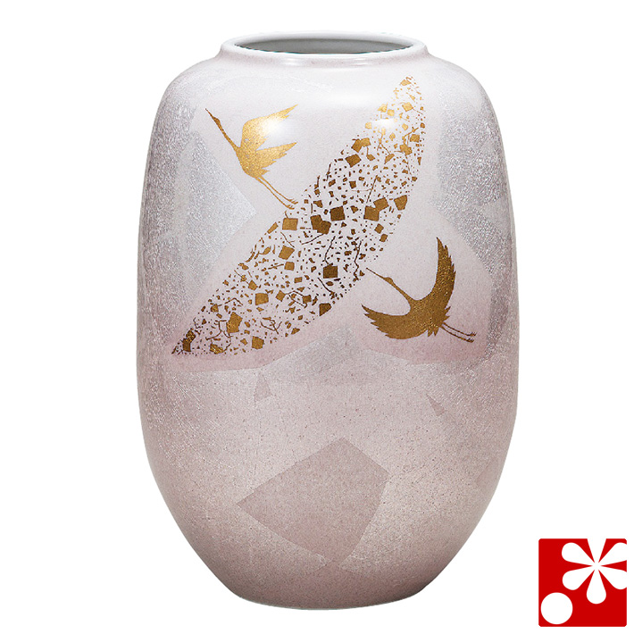 九谷焼 花瓶 銀彩鶴(高24.5cm)