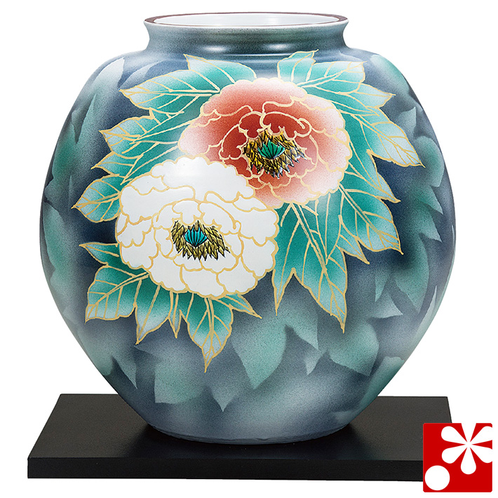 九谷焼 10号 花瓶 紅白牡丹(飾台付)( 大きな サイズ )