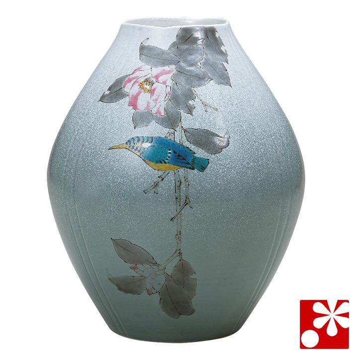 九谷焼 8.5号 花瓶 椿に翡翠 山田龍山( 大きな サイズ )