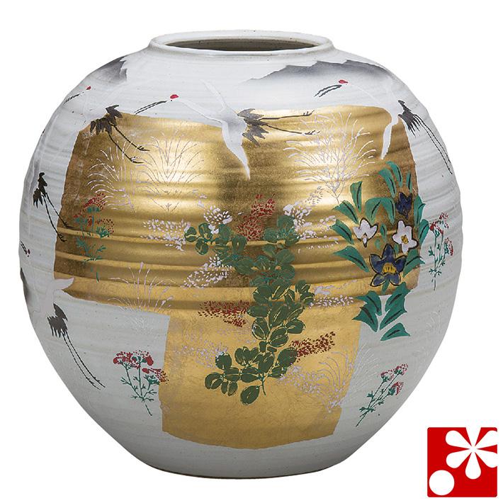 九谷焼 8号 花瓶 金箔秋草( 大きな サイズ )