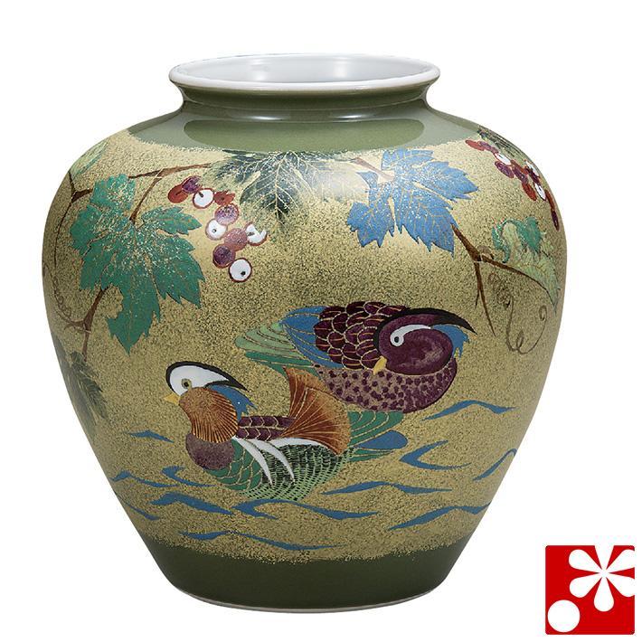 九谷焼 8号 花瓶 おしどり 古田弘毅( 大きな サイズ )