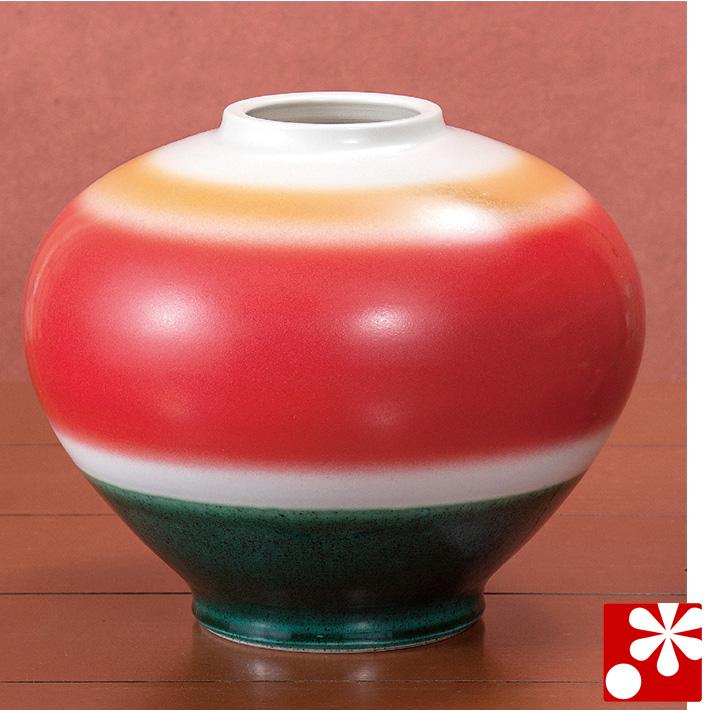 九谷焼 8.5号 花瓶 あけぼの 青良窯( 大きな サイズ )