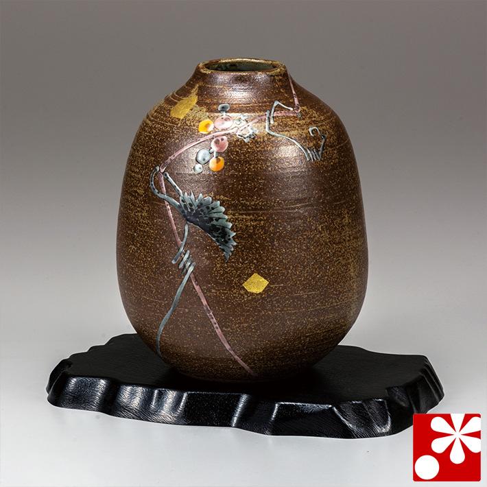 九谷焼 花瓶 山ぶどう(飾台付) 福田昇竜(高19.5cm)