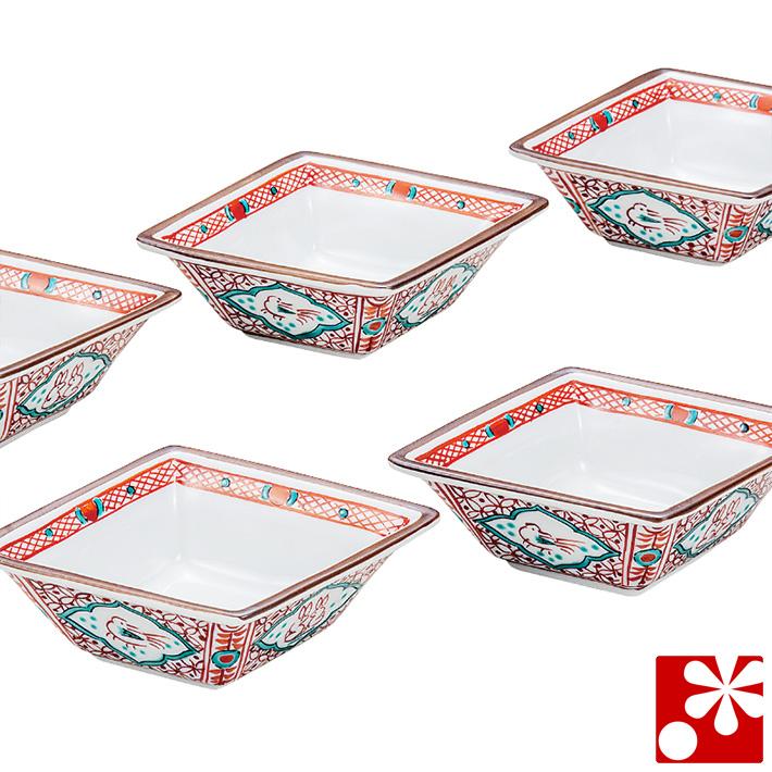 九谷焼 小鉢 5個 セット 間取赤小紋( 和食器 おしゃれ )