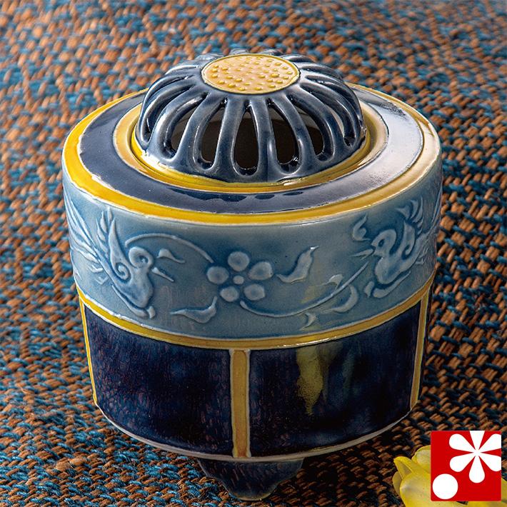 九谷焼 3.2寸 香炉 筆盛双鳥文 銀泉窯( 陶器 かわいい おしゃれ 仏具 アンティーク )