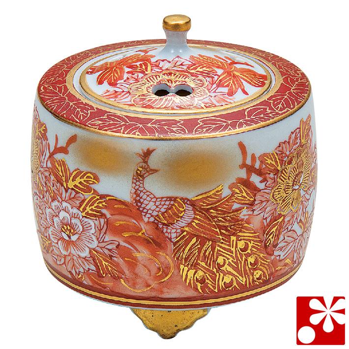 九谷焼 3.5寸 香炉 赤牡丹孔雀 佐伯信平( 陶器 おしゃれ 仏具 アンティーク )